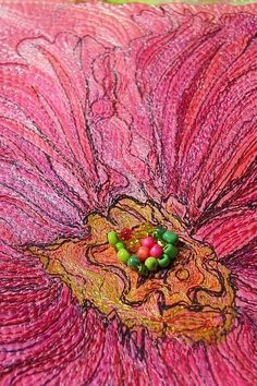 MarveLes HOLLYHOCK in PINK Beaded Thread Sketched Flower Miniature Quilt.