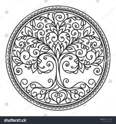 decor element vector black and white illustration mandala tree circle heart leaves plant design element abstract Mandala Drawing, Mandala Art, Lotus Mandala, Mandala Design, Life Tattoos, Tatoos, Dotwork Tattoo Mandala, Plant Tattoo, Tattoo Tree