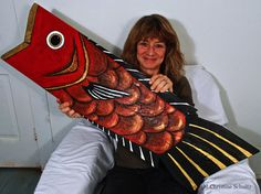 Big Red Wood Fish Painted Folk Art on Reclaimed by TaylorArts