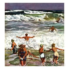 """""""Surf Swimming,"""" August 14, 1948 Giclee Print by John Falter at AllPosters.com"""