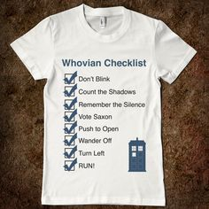 #Whovian checklist shirt. #DoctorWho