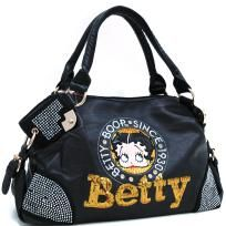 Black Betty Boop® Shoulder Bag w/ Sequins & Rhinestones - FREE SHIPPING $55.00