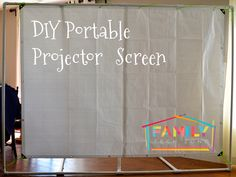 Diy Portable Projector Screen With Epson Projector Portable Make A Portable Projector Screen For Less Than Ten Bucks Outdoor Portable Projector Screen Stand Made From Kee Lite Kee Klamps Diy Portable Projector Screen With Epson… Outdoor Projector Screen Diy, Projector Screen Stand, Home Projector Screen, Diy Projection Screen, Outdoor Movie Screen, Movie Projector, Home Theater Setup, At Home Movie Theater, Media Room Design