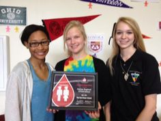 Dayton Regional STEM School is recognized as a RED CORD HONOR SCHOOL for 2013-2014. Faith Ezell, Kassie Heironimus, & Abigail Bowman accepted the award.