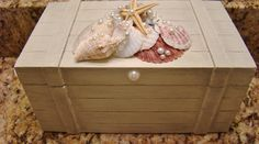 Created a beautiful storage - jewerly box for my bathroom complete with Swarovski crystals and beads.  Coastal Decor, Beach, Nautical Decor, DIY Decorating, Crafts Beach decor, See more and like my page at https://www.facebook.com/creamandlime