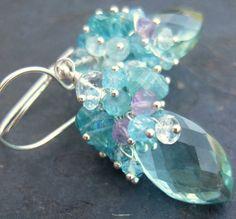 Aqua quartz amethyst aquamarine earrings by seafairiesjewelbox, $68.00