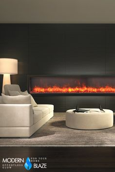 Modern built-in frameless electric fireplace with multicolor flame, optional heat, and remote control.