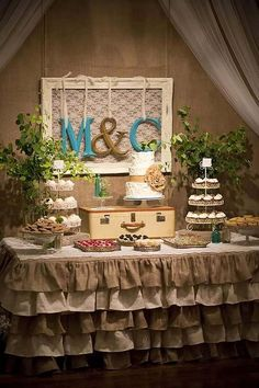 burlap and lace wedding dessert table ideas / http://www.himisspuff.com/wedding-dessert-tables-displays/