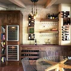 This wine tasting room seems right at home in the kitchen. A combination of bottle storage & glassware racks, dual refrigerators, countertop & wet bar sink along with table seating define the space....wonder if my honey would consider this