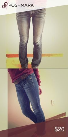 American Eagle Jeans I am selling these super cute, must have American Eagle jeans! The jeans are in fantastic condition. Nothing wrong with them other than the fact that they are too big for me. They are a size zero, but I feel that they fit a bit bigger than that. Maybe the next size up. Since they are too big for me, they have been hardly worn. There is no fraying at the bottom. Please see the Reasonable Offers Chart for appropriate negotiations  American Eagle Outfitters Jeans Boot Cut