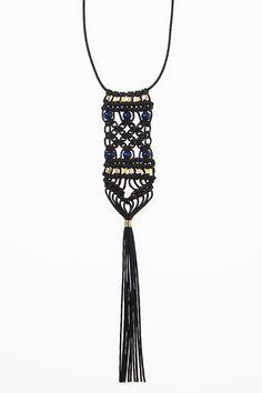 Black, Navy & Gold Macramé Tassel Necklace by corda   CORDA