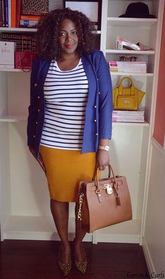 plus size fashion for women, Stripes shirt , mustard skirt and navy blazer make a cute  combo