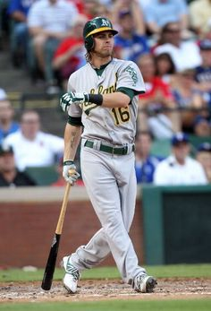 ARLINGTON, TX - JUNE 30: Josh Reddick #16 of the Oakland Athletics is called out after hitting a line drive into the glove of 1st baseman Mike Napoli the Texas Rangers on June 30, 2012 at the Rangers Ballpark in Arlington in Arlington, Texas. (Photo by Layne Murdoch/Getty Images)