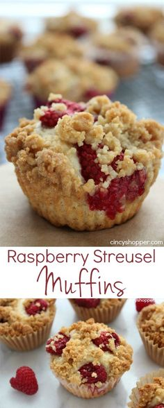 Raspberry Streusel Muffins- Bursting with tasty raspberries and topped with delish streusel topping. Perfect breakfast or dessert!