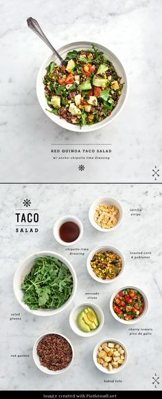 How-to make a red quinoa taco salad. How-to make a red quinoa taco salad. Quinoa Tacos, Quinoa Salad, Quinoa Rice, Whole Food Recipes, Cooking Recipes, Cooking Tips, Taco Salad Recipes, Taco Salads, Clean Eating