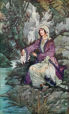 """On the bank by sat a young maiden weeping."" Illustration by Charles Folkard, published in Ottoman Wonder Tales (1915) by Lucy Mary Jane Garnett. Read The Three Wonderful Dresses and other Turkish fairy tales on Fairytalez.com, Reading time: 5 min, ""In the garden of a King's palace there..."""