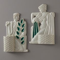 Nurture and Replenish Wall Plaques by Global Views, available from ModernDomicile. Greek Statues, Cool Wall Art, Contemporary Wall Decor, Wall Plaques, Home Accents, Cool Stuff, Inspiration, Emerald Green, Beautiful Things