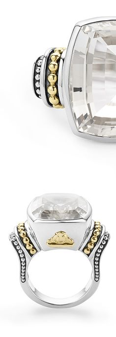 Cocktail ring with a flourish of 18k gold Caviar beading and a bezel-set white topaz cushion-cut gemstone.