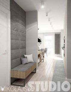 An option to integrate a bench with a wardrobe in the drop zone close to the entrance door. Entrance Foyer, House Entrance, Hall House, Entrance Halls, Entry Hall, Interior And Exterior, Interior Design, Flat Interior, Interior Modern