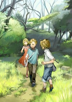 Winry, Al, & Ed Fullmetal Alchemist ... makes me think of the kids from the short on the Conqueror of Shamballa DVD
