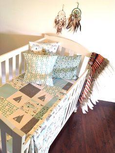 Storm Cloud Baby Boy Crib Quilt by AlphabetMonkey on Etsy