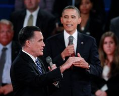 96 - 10/16/12 - President Barack Obama and Republican presidential nominee Mitt Romney speak at the same time during the second U.S. presidential campaign debate in Hempstead, N.Y., on Oct. 16, 2012. (REUTERS/Jason Reed)