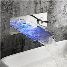 Shop for Chrome Finish Color Changing LED Waterfall Wall Mount Bathroom Sink Fau. - Shop for Chrome Finish Color Changing LED Waterfall Wall Mount Bathroom Sink Faucet at www. Bathroom Sink Taps, Kitchen Taps, Bathroom Chrome, Bathtub Faucets, Vanity Sink, Modern Bathroom, Small Bathroom, Wall Mounted Bathroom Sinks, Wall Mount Faucet