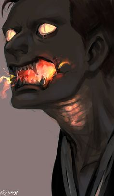 This I believe is Crowley from Good Omens, by Flypanegg Dark Fantasy Art, Dark Art, Cool Drawings, Drawing Faces, Demon Drawings, Mouth Drawing, Fantasy Drawings, Fu Dog, Character Design Inspiration