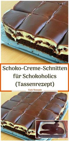 Schoko-Creme-Schnitten f r Schokoholics Tassenrezept Schoko Schokoholics Tassenrezept Creme Kuchen Dessert Recipes For Kids, Dessert Cake Recipes, Easy No Bake Desserts, Homemade Desserts, Easy Cake Recipes, Fancy Desserts, Dinner Recipes, Chocolate Cake Recipe Easy, Chocolate Chip Recipes
