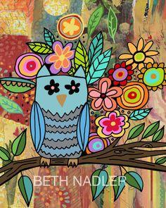 Owl Art for Children's Room by Beth Nadler. $15.00, via Etsy.