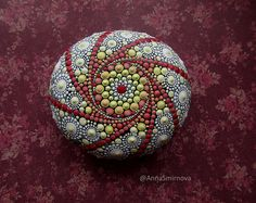 Jewel Drop Mandala Painted Stone. Hand painted by Anna Smirnova