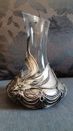 Items similar to Amazing Handdecorated Decanter ,Special Gift ,Glass Art on Etsy Glass Bottle Crafts, Wine Bottle Art, Decorated Wine Glasses, Painted Wine Glasses, Pewter Art, Steampunk Furniture, Painted Glass Vases, Stained Glass Church, Broken Glass Art