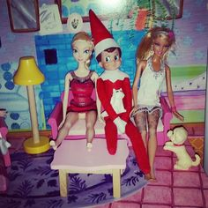 Elfie hanging in the Barbie dream house. 2015 #elfontheshelf #Elfie #hestheman
