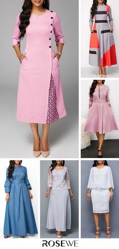 Round Neck Printed Three Quarter Sleeve Dress African Fashion Dresses, African Dress, Fashion Outfits, Dress Fashion, Stylish Dresses, Casual Dresses, Vetement Fashion, African Traditional Dresses, Gala Dresses
