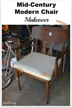 """A $6.00 thrifted mid-century modern chair gets a makeover! This is the ugly """"before."""""""