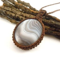 Love necklace, botswana agate, macrame necklace, girlfriend gift idea, healing crystal, agate jewelry, crystal necklace, wrapmeacrystal
