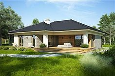 Projekt domu Oceania II 126,5 m2 - koszt budowy - EXTRADOM Village House Design, Village Houses, Modern Bungalow House, Modern House Plans, Facade, Shed, New Homes, Outdoor Structures, Cabin