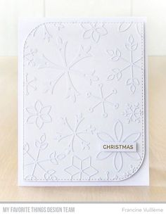Stamps: Hand Lettered Holiday | Die-namics: Layered Snowflakes, Stitched Mod Rectangle STAX — Francine Vuilleme #mftstamps
