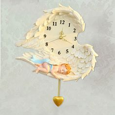 European classical creative cartoon resin bracket clock sitting room bedroom art lovely clock Angel wall clock >>> You can find more details by visiting the image link. #HomeDecor