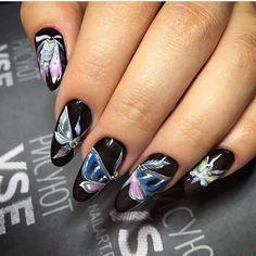 Beautiful nails 2017, Black dress nails, Butterfly nails, Evening nails…