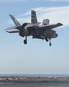 An test aircraft prepares to land vertically on the deck of the USS Wasp Aug. The aircraft was flying during short takeoff/vertical landing Developmental Test Phase Two. Military Jets, Military Aircraft, Military Life, Fighter Aircraft, Fighter Jets, F35 Lightning, F22 Raptor, Navy Aircraft, Military Pictures