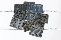 LOT of TEN Vintage Metal Taxi Number Plates.....Locker