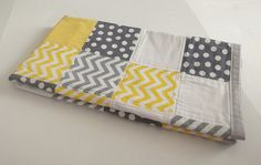 Modern Baby Quilt, Yellow Grey Baby Quilt, Modern Chevron Baby Quilt by TakeTwoBabyQuilts, $69.99