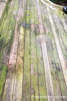This recipe will make your old deck look brand new—and it's SO easy to make! It's the beginning of summer…time to start inviting some friends over to hang out on the deck! The only problem? The deck is covered in dirt an Deep Cleaning Tips, House Cleaning Tips, Cleaning Solutions, Cleaning Hacks, Cleaning Items, Cleaning Recipes, Green Cleaning, Spring Cleaning, Cleaning Supplies