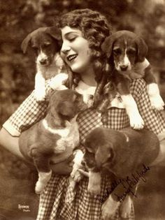 Mary Pickford and puppies