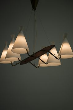 Anonymous; Teak, Brass and Glass Ceiling Light, 1950s. Via Studio Schalling.
