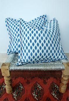 Indian Hand block Print and Hand Embroidered Throw Pillows Cushion Covers Organic Cotton and Linen 18x18 Pair