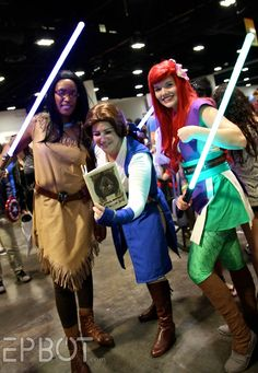 Disney Princess Jedis...Meep!! By EPBOT: Tampa Bay Comic-Con 2014, Pt 1  Not steampunk, but a good idea :)