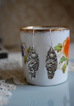 "Spoon Earrings: ""Patricia"" by Silver Spoon Jewelry. $48.00, via Etsy. With BIRDS!!"