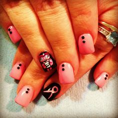 Protect your hooters!!:) breast cancer nails❤